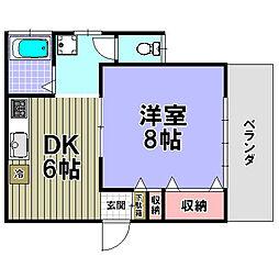 第一中西荘[203号室]の間取り