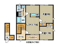 東京都府中市栄町3丁目の賃貸アパートの間取り