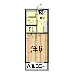 ガーデンシティーA[3階]の間取り