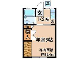 京都府城陽市平川大将軍の賃貸アパートの間取り