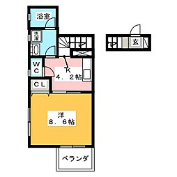 リエブル湘南 2階1Kの間取り