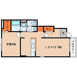 奈良県桜井市金屋の賃貸アパートの間取り