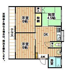 福岡県北九州市小倉南区湯川新町3丁目の賃貸アパートの間取り