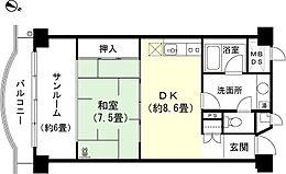 和室7.5畳 LDK約8.6畳 サンルーム約6畳