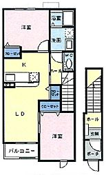 埼玉県日高市旭ケ丘の賃貸アパートの間取り