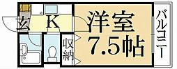 京都府京都市北区紫竹大門町の賃貸マンションの間取り