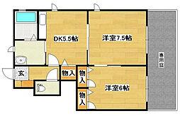 福岡県北九州市八幡西区幸神2丁目の賃貸アパートの間取り