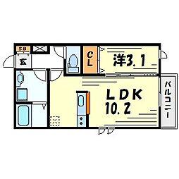 ラディアント園田[1階]の間取り