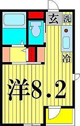 Amax五反野 2階ワンルームの間取り