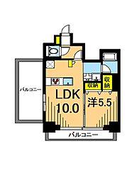 LUXENA東品川 8階1LDKの間取り