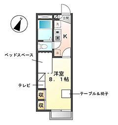 愛知県名古屋市緑区大高町字北南休の賃貸アパートの間取り
