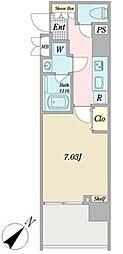 グランピア西新宿 10階1Kの間取り