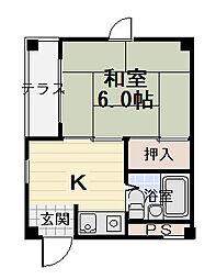 手島ハイツ[3階]の間取り