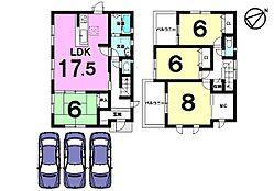 全居室6帖以上のゆとりある間取り。駐車3台可能です。