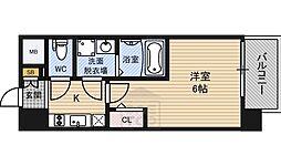 エスリード桜ノ宮レジデンス 13階1Kの間取り