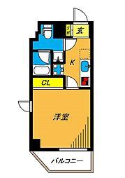 旗の台アパートメント 4階1Kの間取り