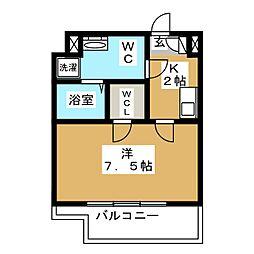 CREVISTA蒲田II 5階1Kの間取り