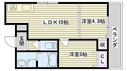 クリエオーレ横堤[2階]の間取り