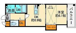 阪急千里線 北千里駅 徒歩15分の賃貸マンション 2階1DKの間取り