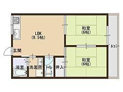 大阪府堺市堺区八幡通1丁の賃貸アパートの間取り