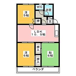 マンション桃の里[1階]の間取り