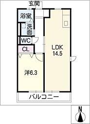 パークハイム天王[2階]の間取り