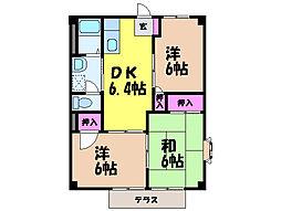 愛媛県伊予郡松前町大字南黒田の賃貸アパートの間取り