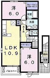 岡山県倉敷市真備町川辺丁目なしの賃貸アパートの間取り