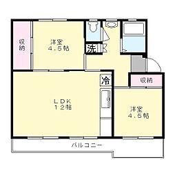神奈川県川崎市多摩区三田3丁目の賃貸マンションの間取り