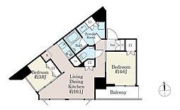 ba apartment 3階2LDKの間取り