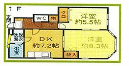 トレステーラ椎田 1階2DKの間取り