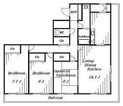 白鳥マンション[7階]の間取り