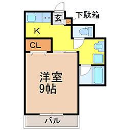愛知県名古屋市昭和区川名町2丁目の賃貸マンションの間取り