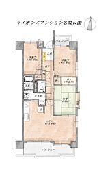 3LDK、専有面積72.36平米、バルコニー面積10.66平米、南東角部屋
