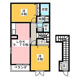 静岡県静岡市葵区与一4丁目の賃貸アパートの間取り