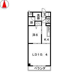 シュテルン中柳[2階]の間取り