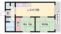 兵庫県加古川市別府町宮田町の賃貸マンションの間取り