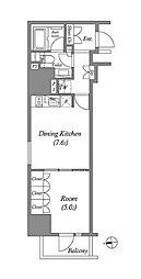 JR山手線 上野駅 徒歩9分の賃貸マンション 14階1DKの間取り