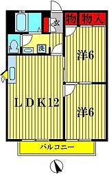 ベルコート六高台II[2階]の間取り