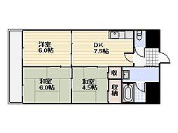 第一リキマス[401号室]の間取り