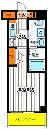 JR中央線 立川駅 徒歩9分の賃貸マンション 2階1Kの間取り