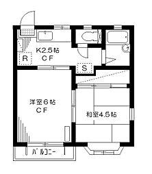 コートビレッジK1・K2[1-203号室]の間取り