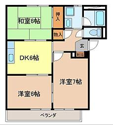 グリーンリーフ堂満A棟[2階]の間取り