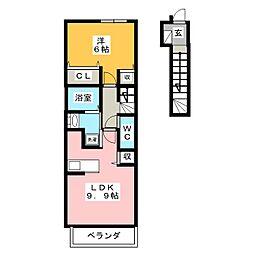 シャンdeプアロ A棟[2階]の間取り