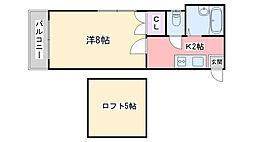 福岡県福岡市西区姪の浜3丁目の賃貸アパートの間取り