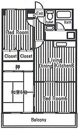 ガーデンクレス弐番館[6階]の間取り