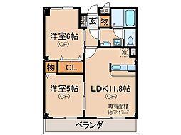 京都府城陽市市辺小梨間の賃貸アパートの間取り