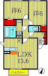 千葉県柏市酒井根5丁目の賃貸アパートの間取り