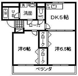 大阪府岸和田市今木町の賃貸マンションの間取り