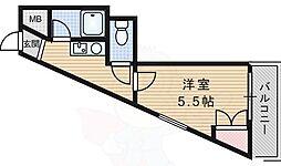 ハイツハラヤマ 3階1Kの間取り